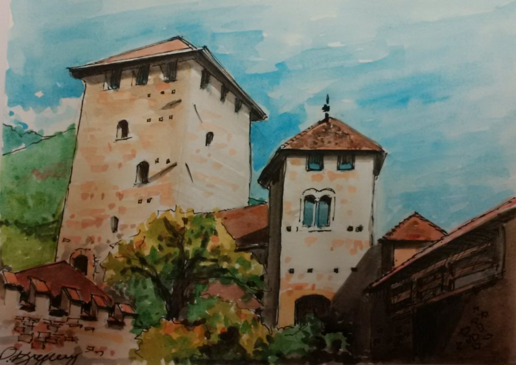 Patricia Krywy, Tryrol Castle, Italy, ink & watercolour