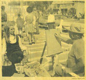 Tom Cayley Sketching a Portrait at the Sidewalk Art Festival in Key West, Florida, 1970. HWHG Archive
